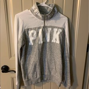 PINK grey and white long sleeve pullover